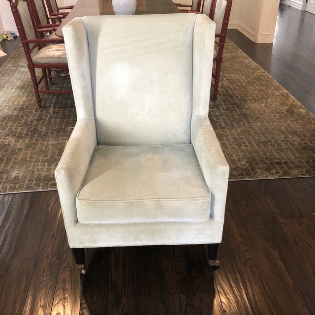 Silk Windsor Smith Corduroy Celadon and Beige Wingback Chairs - a Pair For Sale - Image 7 of 7