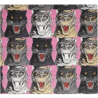 Gucci Pink Tiger Face Print Wallpaper For Sale