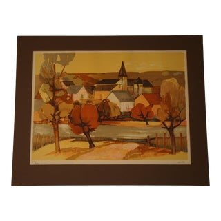 1960s Provincial French Village Lithograph Numbered 257/260 by Elaine Thiollier For Sale