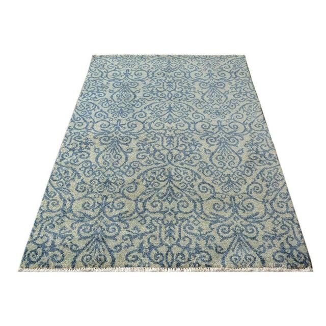 Textile Kafkaz Peshawar Cyrena Lt. Green/Blue Wool Rug - 4' X 6' For Sale - Image 7 of 8