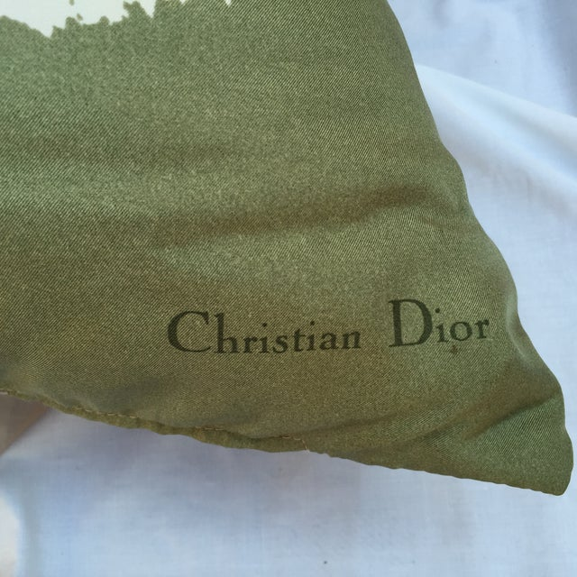 White Vintage Dior Logo Scarf Pillow For Sale - Image 8 of 8