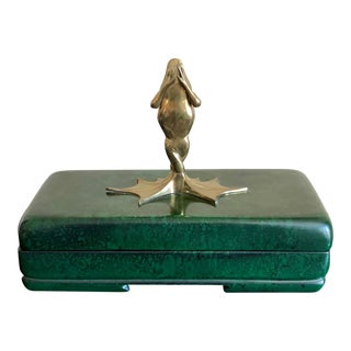 1981 Chapman Brass Frog Malachite Porcelain Box For Sale