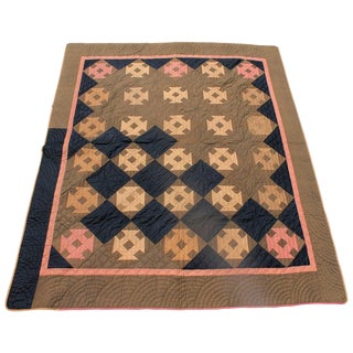 19th Century Amish Hole in the Barn Door Quilt, Dated 1890 For Sale