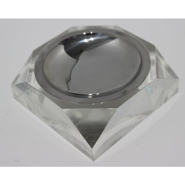 Octagonal Lucite & Stainless Steel Candy or Nut Dish Bowl For Sale - Image 4 of 10