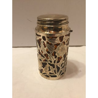 1940's Antique Sterling Overlay Over Amber Glass Screw Top Bottle Preview