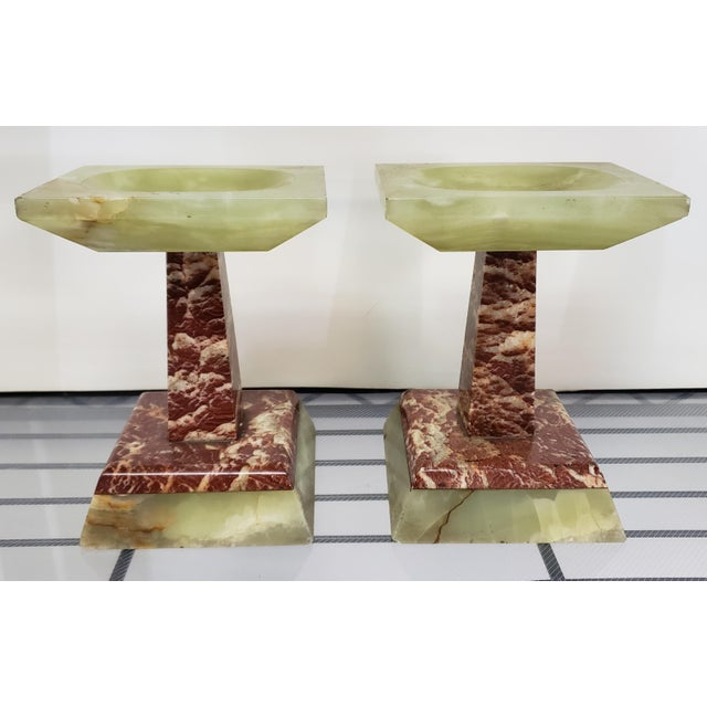 Stone Late 19th Century French Marble and Onyx Tazzas - a Pair For Sale - Image 7 of 7