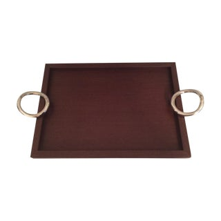 Christofle Vertigo Tray With Silver Plated Handles For Sale
