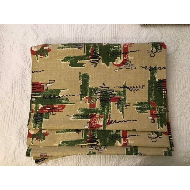 """This is eleven yards of """"Saisons Happily Married Vat Dyed"""" cotton/linen mid century modern yardage made during the 1950s...."""