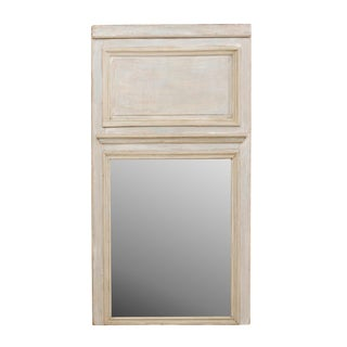 Tall French 19th Century Trumeau Mirror in Lovely Pale Blue and Grey Wash For Sale
