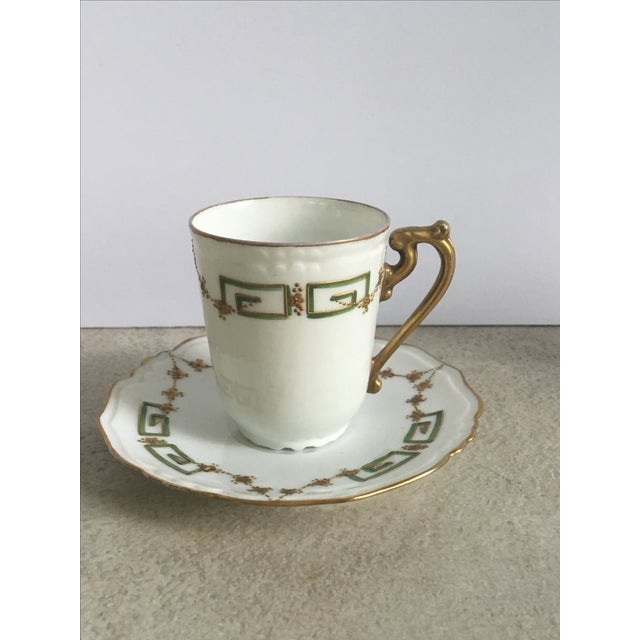 Antique Green, Gold & White Teacup & Saucer - Image 2 of 5