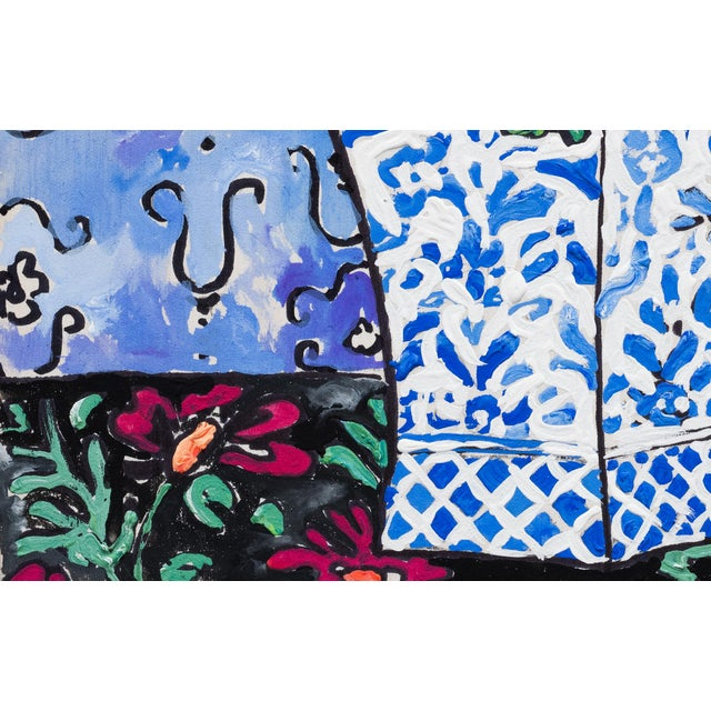 Contemporary Tropical Bouquet on Ultramarine Blue Still Life Painting For Sale - Image 3 of 3
