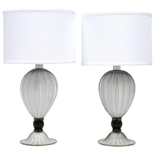 "Murano Gray ""Incamiciato"" Glass Table Lamps"
