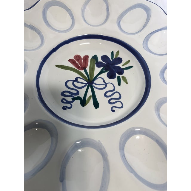 1990s Italian Hand Painted Deviled Egg Plate For Sale - Image 5 of 6