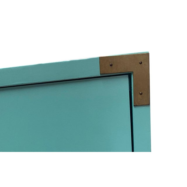 Dixie Vintage Aqua Dixie Campaign Nightstands - a Pair For Sale - Image 4 of 8