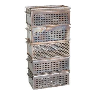 Vintage Metal Storage Locker Bins - Set of 5