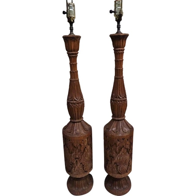 Hand Carved Southeast Asian Teak Lamps - Pair - Image 1 of 4