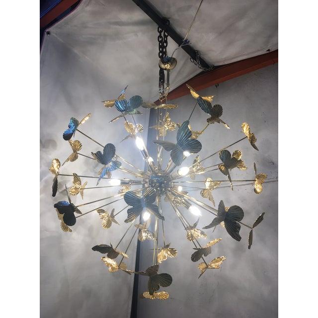 Gold Italian Hand Made Gold 24k Butterfly Sputnik Chandelier For Sale - Image 8 of 13