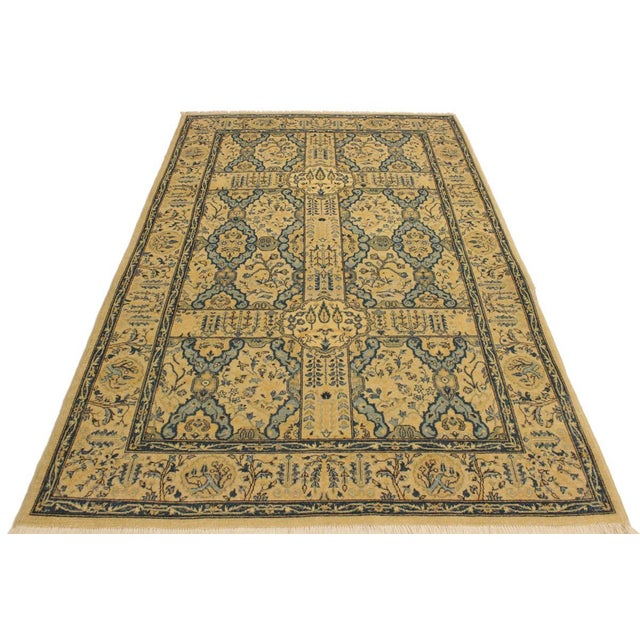Semi Antique Istanbul Gaye Tan/Teal Turkish Hand-Knotted Rug -4'8 X 7'0 For Sale - Image 4 of 8