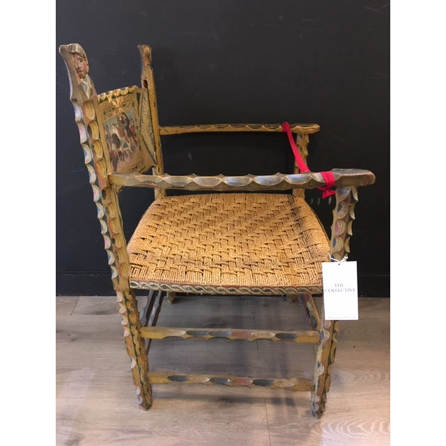Italian Antique Italian Carved Wood Chair 19th Century For Sale - Image 3 of 9