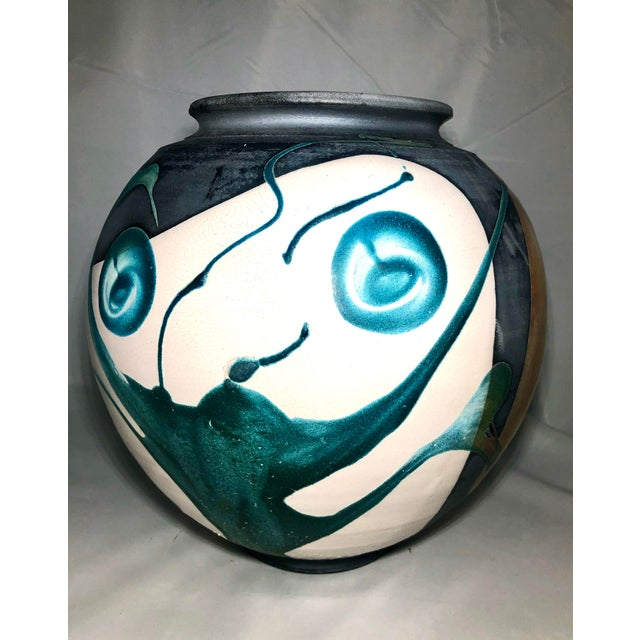 Stunning large raku pottery vessel - signed by artist and in immaculate condition. Detailed glaze work.