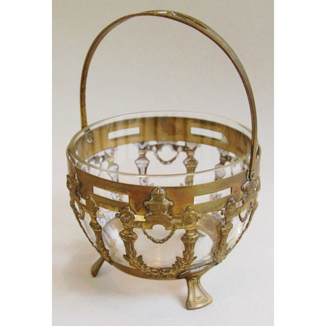 Antique Brass Filigree & Crystal Basket - Image 3 of 10