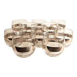 Silver Banded Construction Roly Poly Glasses - Set of 10 For Sale
