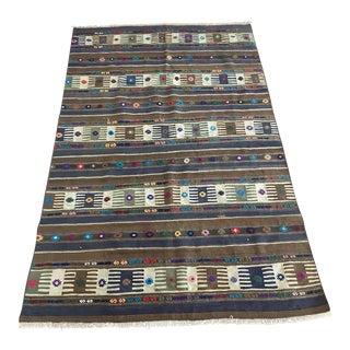 1960s Vintage Caucasian Flatweave Embroidered Kilim Rug For Sale
