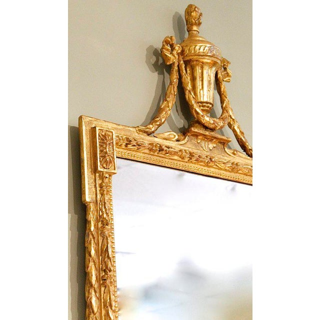 Large Italian Neoclassical Gilt Wood Mirror For Sale - Image 4 of 11