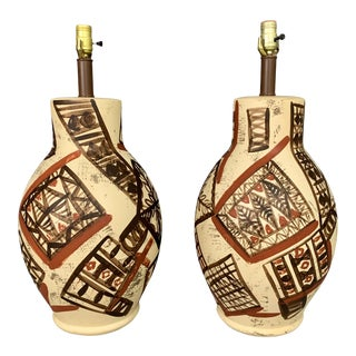1970s Mid-Century Ceramic Lamps Hand Painted in the Manner of Picasso - a Pair For Sale