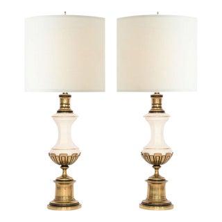 Westwood Brass &Porcelain Lamps - a Pair