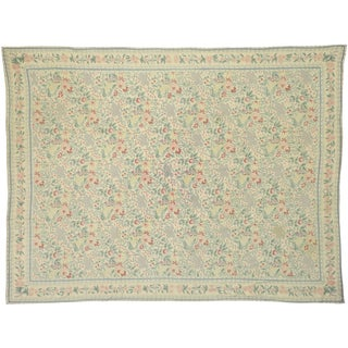 Vintage Cottage Chain Stitch Floral Area Rug With French Provincial Style - 9'1 X 11'9 For Sale