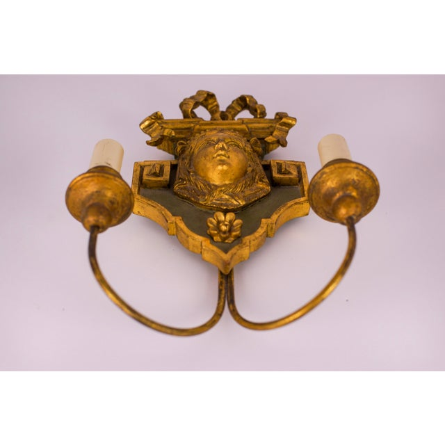 Neoclassical 20th Century Neoclassical Wooden Double-Arm Sconce For Sale - Image 3 of 6