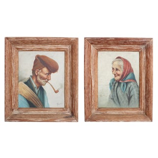 Giuseppe Rossi 'Edler' or 'Peasant' Oil Paintings - a Pair For Sale