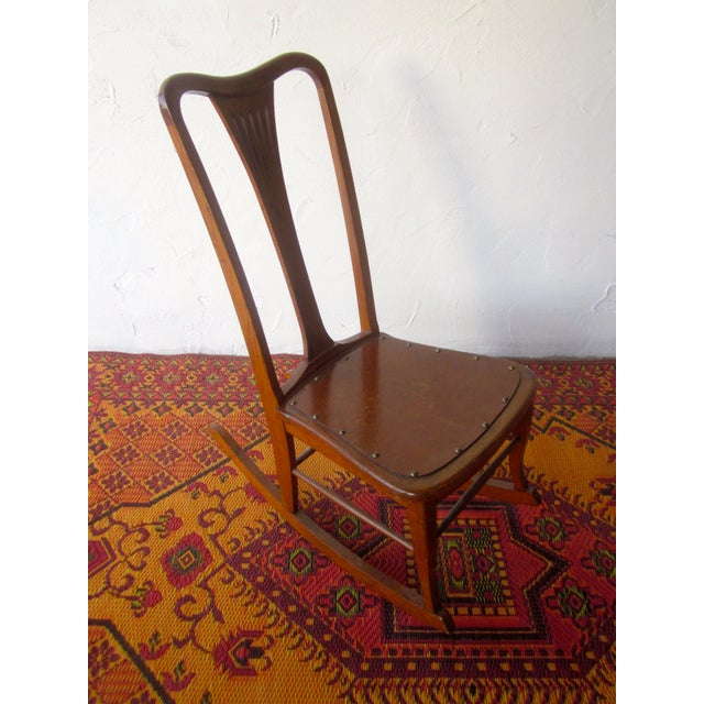 Wood 20th Century Americana Wooden Rocking Chair For Sale - Image 7 of 9