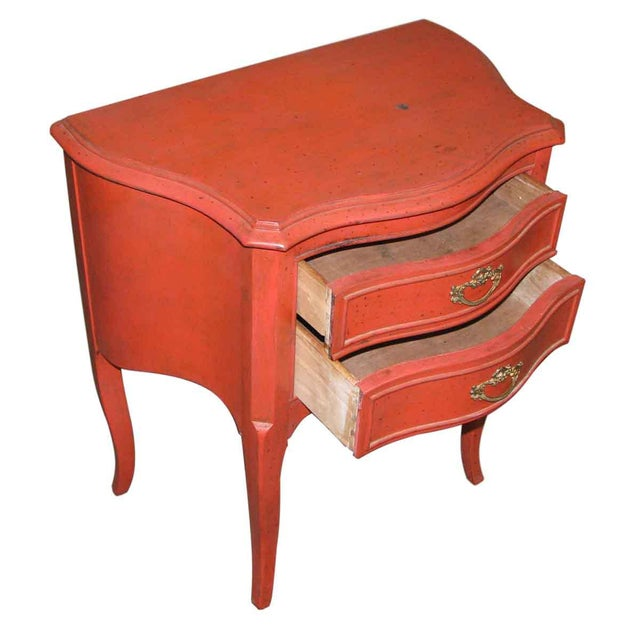French Country Red Nightstand For Sale - Image 5 of 6