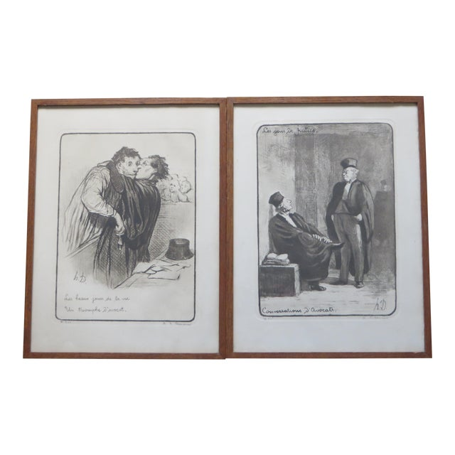Honore Daumier Caricatures Framed & Matted Prints - A Pair For Sale