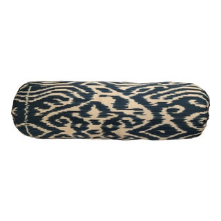 Contemporary Madeline Weinrib Turquoise Luce Ikat Pillow Bolster - 9 X 28 For Sale