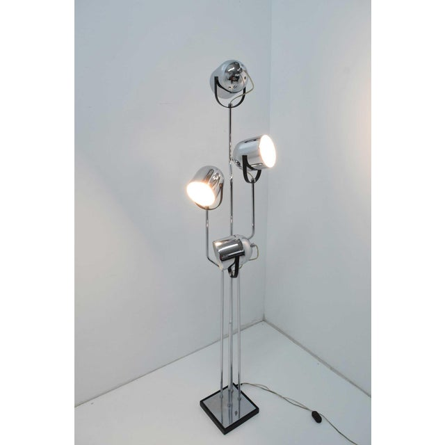 Reggiani 4 Head Chrome and Black Floor Lamp For Sale - Image 9 of 11