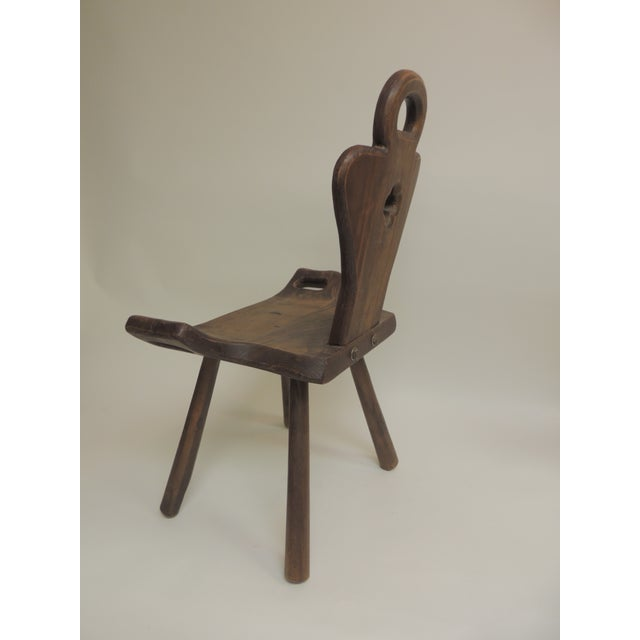Vintage Primitive Rustic Belgian Artisanal Birthing Chair With Four Legs For Sale - Image 4 of 7