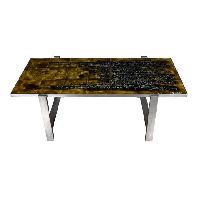 Mid Century Modern Ceramic Tile And Polished Aluminium Coffee Table By J Belarti For