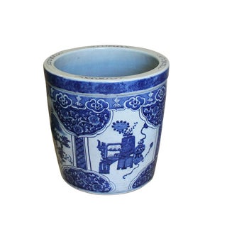 Chinese Vintage Finish Blue White Porcelain Kirin Round Pot Planter
