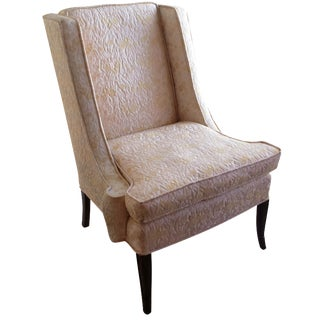 Lewittes Wingback Chair in Champagne Brocade For Sale