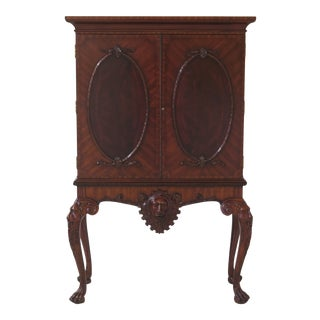 Maitland Smith Regency Mahogany 2 Door Lion Head China Cabinet For Sale