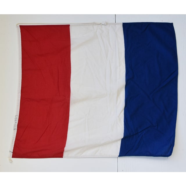 """Vintage maritime nautical naval signal """"T Tango"""" code flag. This flag is the international maritime code/meaning for """"Keep..."""