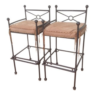 Western Themed Patinated Bar Stools - A Pair