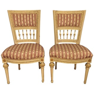 Paint Decorated Jansen Style Side Chairs - a Pair For Sale