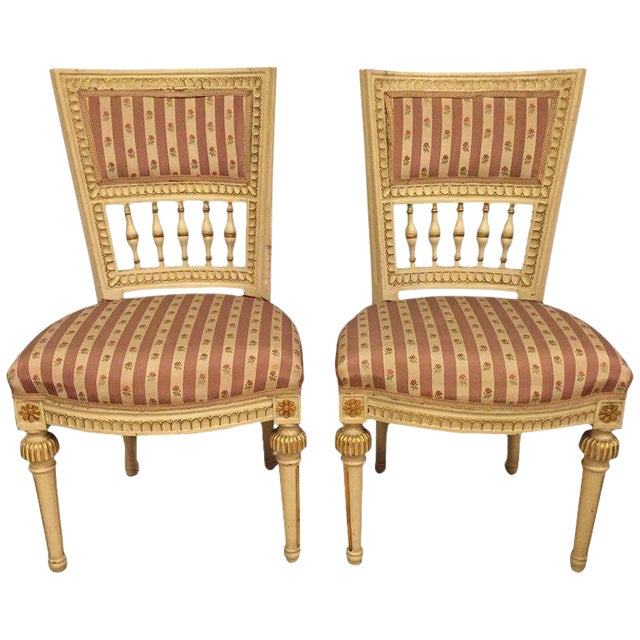 Pair of Paint Decorated Jansen Style Side Chairs For Sale