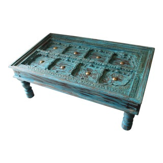 Distressed Solid Wooden Rustic Coffee Table For Sale