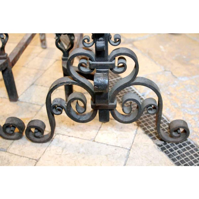 Heavy Wrought Iron Andirons - A Pair - Image 5 of 7