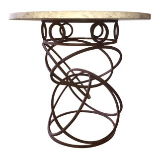 Coral Stone and Steel Occasional Table For Sale
